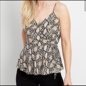 Maurices Mock Front Wrap Snakeskin Tank